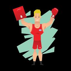 红色衣服的拳击手免抠素材