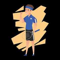 打网球的蓝衣男孩免抠素材