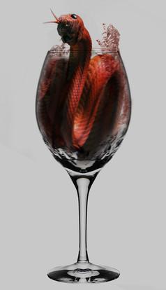 红酒杯,蛇