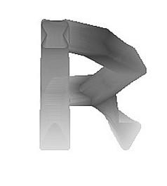 水墨R字母免抠素材