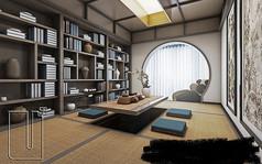 中式榻榻米茶室模型