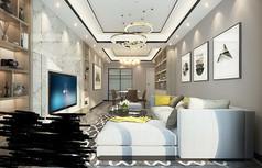 中端半温馨简约客厅模型素材