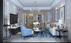 现代简欧客厅设计模型