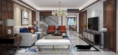 别墅新中式客餐厅模型素材