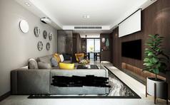 现代港式客厅模型素材