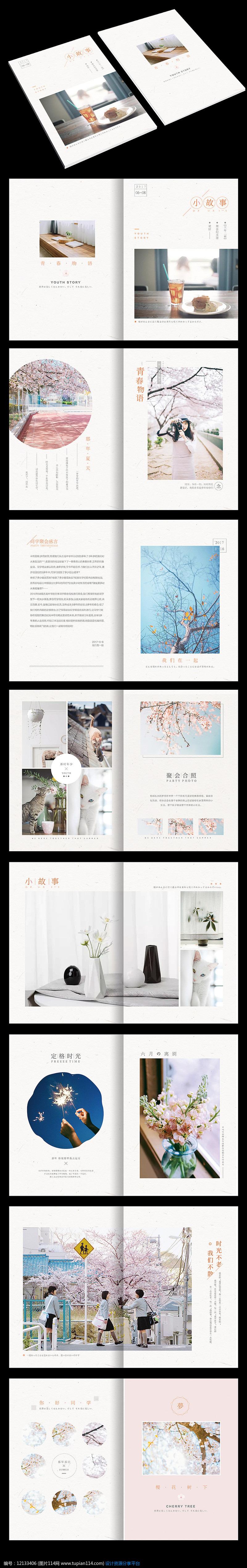 小清新同学聚会纪念画册模板