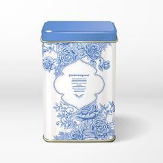青花瓷包装设计花型素材矢量图