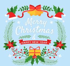 创意圣诞节铃铛贺卡AI矢量图素材