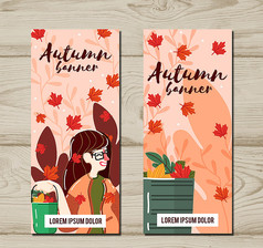创意秋季女子banner正反面AI矢量图素材