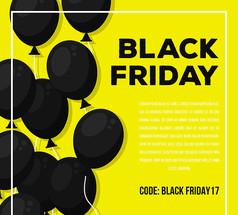 创意黑色星期五气球海报AI矢量图素材