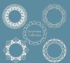 5款白色圆形蕾丝框架AI矢量图模板素材