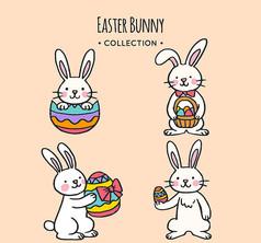 4款彩绘复活节彩蛋兔子AI矢量图模板素材