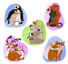 5款卡通动物情侣设计AI矢量图素材