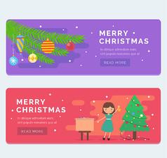 2款彩色圣诞节banner矢量素材