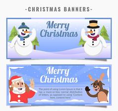 2款卡通圣诞节banner矢量素材