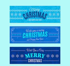3款蓝色圣诞节banner矢量素材