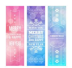 3款梦幻圣诞节banner矢量素材