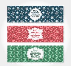 3款圣诞节banner矢量素材