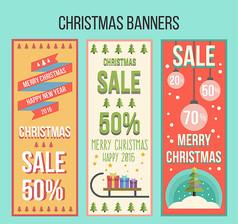3款圣诞节折扣banner矢量素材