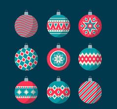 9款复古花纹圣诞吊球AI矢量图素材