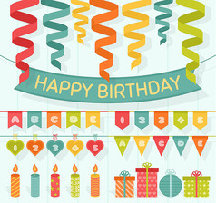 20款彩色生日派对装饰物矢量图