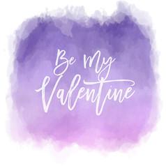 紫色水彩情人节贺卡矢量图