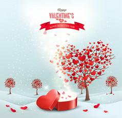 情人節愛心樹與禮盒AI矢量圖素材設計模板