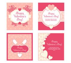 4款粉色情人節愛心卡片AI矢量圖素材設計模板