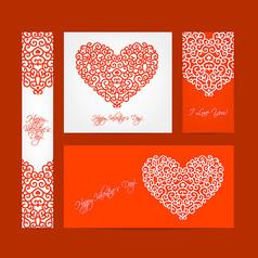 4款情人節花紋愛心卡片AI矢量圖素材設計模板