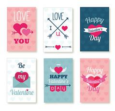 6款彩色情人節卡片AI矢量圖素材設計模板