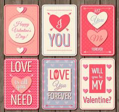 6款創意情人節卡片AI矢量圖素材設計模板