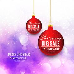 红色圣诞吊球促销海报AI矢量图素材模板