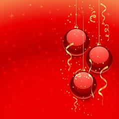 红色圣诞球背景AI矢量图素材模板