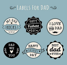 6款圆形父亲节标签AI矢量素材设计模板