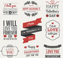 9款创意情人节艺术字标签AI矢量素材设计模板