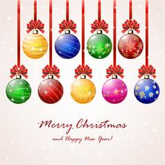 彩色圣诞球贺卡AI矢量图设计素材