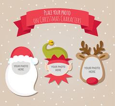 3款卡通圣诞角色相框AI矢量图设计图