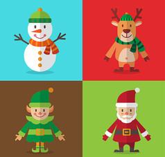 4款扁平化圣诞角色AI矢量图设计素材