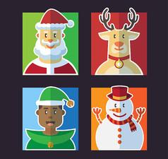 4款扁平化圣诞角色头像AI矢量图设计素材