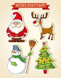 4款卡通圣诞贴纸AI矢量图设计素材