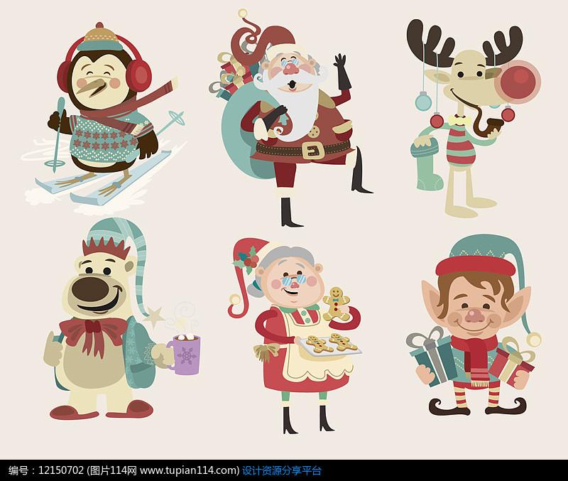 6款卡通圣诞角色设计AI矢量图设计素材