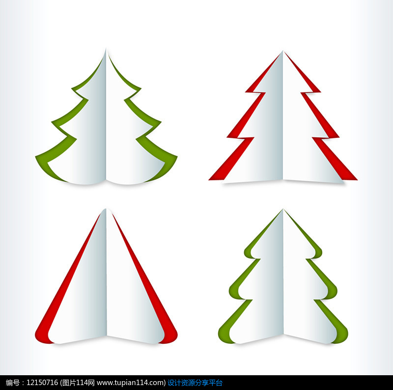 4款创意折纸圣诞树AI矢量图设计素材