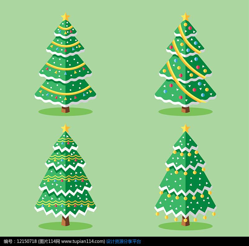 4款金星圣诞树设计AI矢量图设计素材