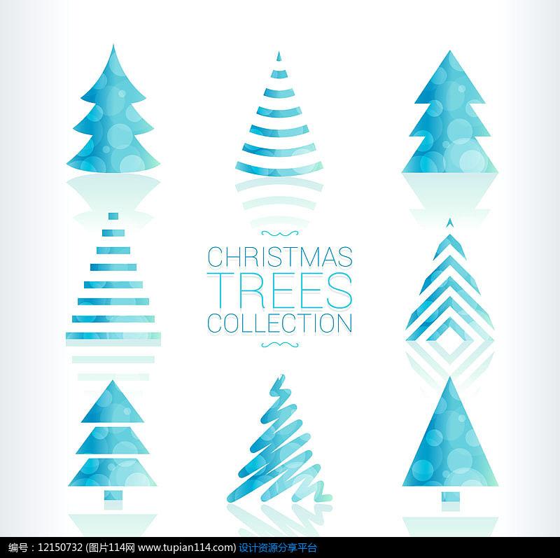 8款蓝色圣诞树AI矢量图设计素材