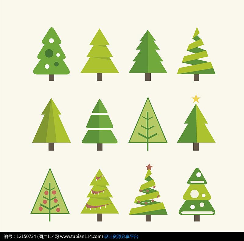 12款绿色圣诞树AI矢量图设计素材
