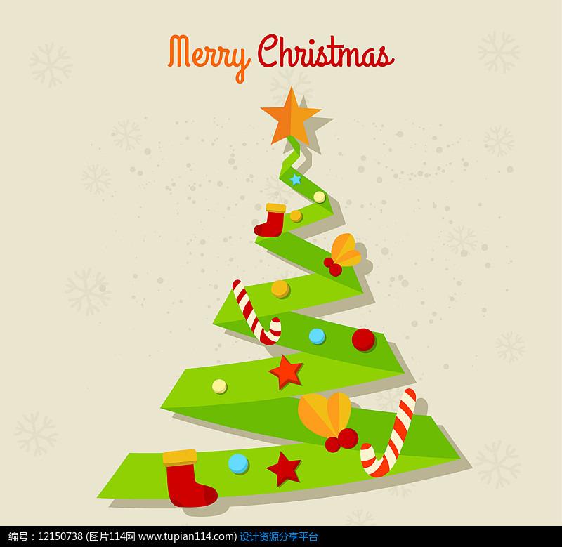创意绿色圣诞树AI矢量图设计图