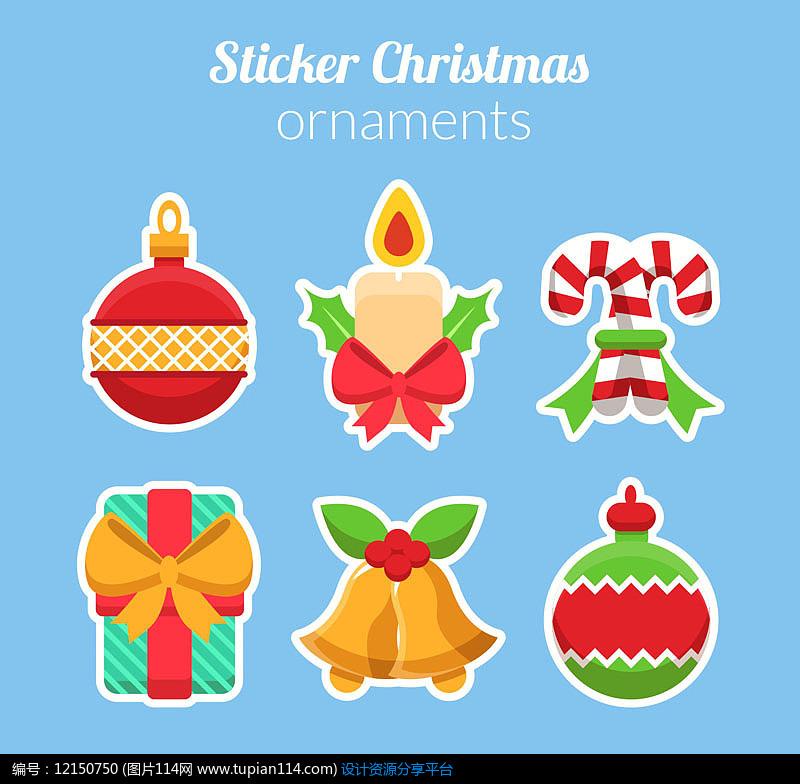 6款彩色圣诞装饰品贴纸AI矢量图平面设计素材