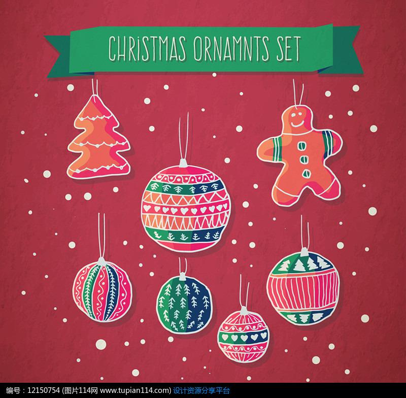 7款可爱圣诞挂饰AI矢量图平面设计素材