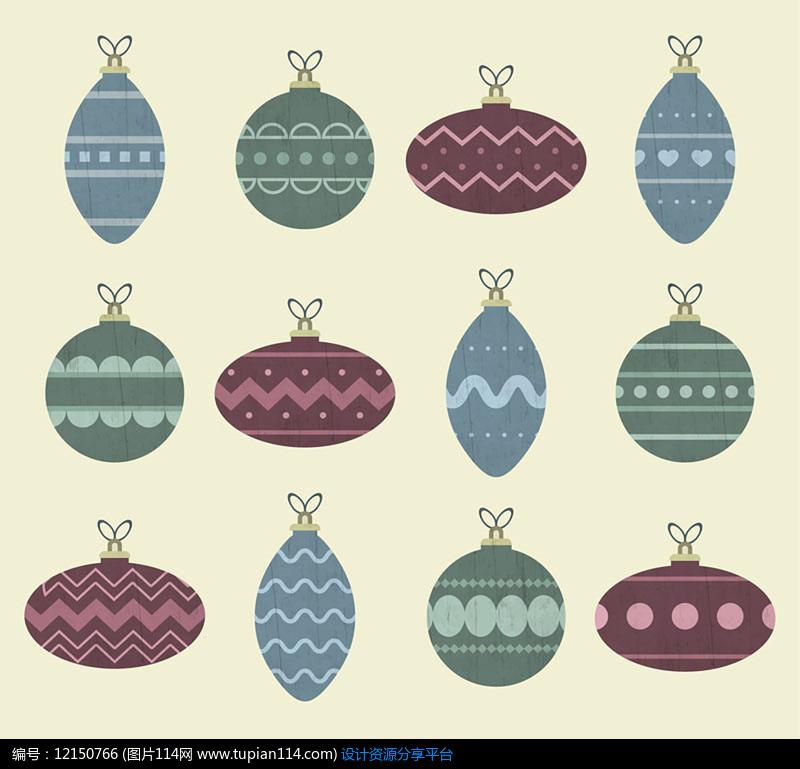 12款彩色圣诞吊球AI矢量图平面设计素材