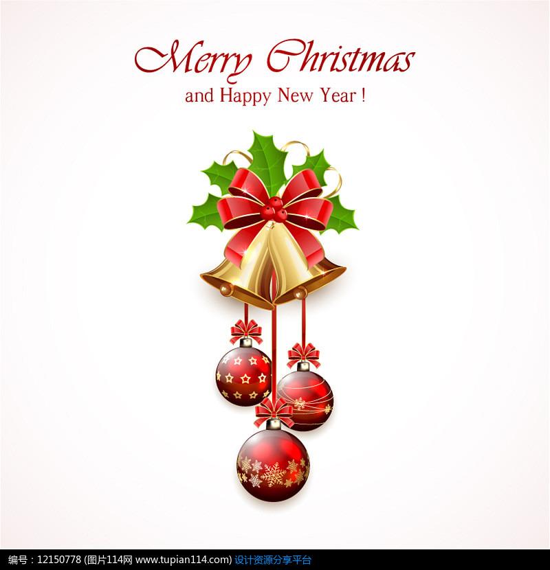 精美圣诞铃铛祝福卡AI矢量图平面设计素材